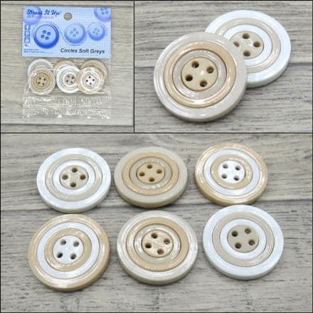 Circles Soft Greys - Dress it Up 4 Hole Buttons